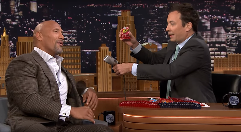 The Rock and a pile of tempting candy.