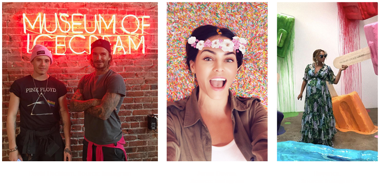 David Beckham, Jenna Dewan and Beyonce in the museum of ice cream teaming up with Pop Rocks popping candy.